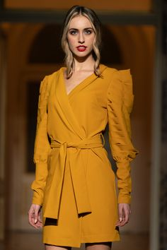 #yellowdress #details #sleeves #wrapped #orovicafashion Yellow Dress, Timeless Fashion, Fashion Show, Wrap Dress, Womens Fashion, Sleeves, Dresses, Design, Vestidos