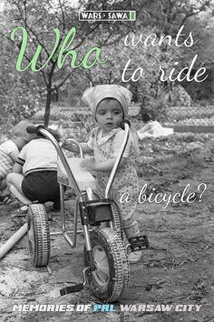 Who wants to ride a bicycle? Postcard by Wars Sawa Design, Warszawa, Warsaw, Memories of PRL.