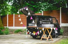 Prosecco Van for hire. Our Fizz Van at a lovely outdoor wedding venue. A lovely shot by the wedding photographer.  Perfect for weddings, parties, corporate events & festivals.