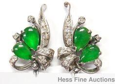 Fine Jadeite Diamond 18k White Gold 1950s Jade Spray Motif Vintage Earrings  #SprayMotif