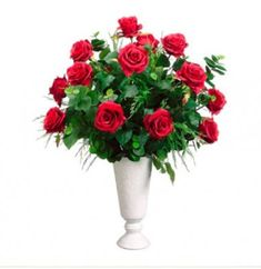 Red Rose Silk Flower Arrangement in Vase with Fern ARWF3058