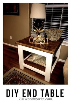 Rustic side table that is easy to build. This farmhouse side table is beautiful and easy to build. Farmhouse End Tables, Rustic End Tables, Diy End Tables, Coffee And End Tables, A Table, Corner Table, Rustic Farmhouse, Farmhouse Style Furniture, Country Furniture