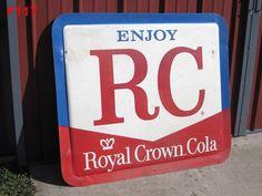 VINTAGE ENJOY RC ROYAL CROWN COLA SODA POP METAL SIGN ADVERTISING HUGE PIECE MCA #RoyalCrown