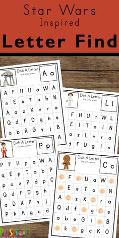 Preschoolers and kindergarteners will love learning and practicing identifying uppercase and lowercase letters with these free Star Wars Find the Letter worksheets. Alphabet Worksheets, Kindergarten Worksheets, Worksheets For Kids, Printable Templates, Free Printable, Printables, Learning Resources, Fun Learning, Abc Coloring Pages