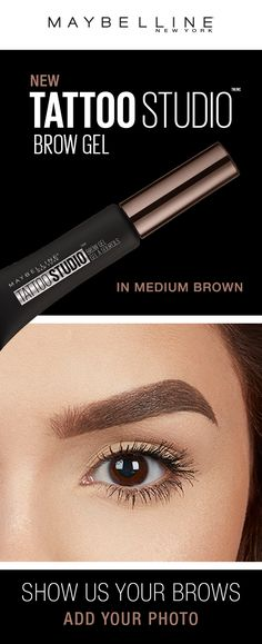 Maybelline Tattoo Studio Waterproof Eyebrow Gel creates fuller-looking definition that last for days. Fill and color your eyebrows with this ultra-resistant and waterproof eyebrow gel. The sculpting tip and eyebrow spoolie brush work together to create fuller-looking eyebrows that last for days. Smudge proof. Does not transfer. Show us your brow look by adding your picture to this pin!