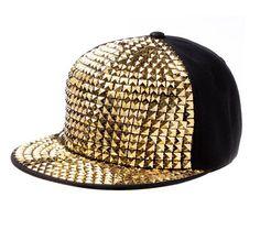 Pyramid Plastic Studs Bling Flat Hip Hop Cap Denim Cap b72ad48d17b0