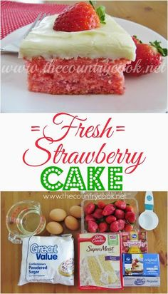 Fresh Strawberry Cake Recipe from The Country Cook. Cake mix combined with fresh. - Fresh Strawberry Cake Recipe from The Country Cook. Cake mix combined with fresh strawberries all to - Fresh Strawberry Cake, Strawberry Cake Recipes, Fresh Cake, Southern Living Strawberry Cake Recipe, Strawberry Cupcake Recipe Using Cake Mix, Recipes With Fresh Strawberries, Strawberry Cake From Scratch, Strawberry Birthday Cake, Fresh Fresh