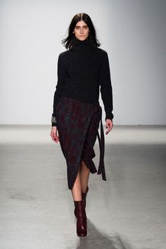 Wrap skirts are casually elegant and work well with knitted pieces