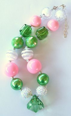 Diamonds are a Girls Best Friend Pink Green White Girls Chunky Necklace, Girls Big Bead Necklace,  Girls Necklace