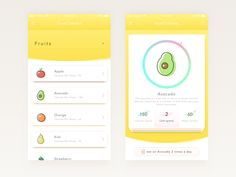 Here is free food calories app UI design that can be used in your next app ui work. You can easily use the design in your own app ui project. This app helps you how many calories that a food have a… Mobile Ui Design, App Ui Design, Web Design, Kiwi, Calories Fruits, How To Make Gin, Mise En Page Web, App Design Inspiration, Apps