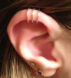 Triple Ear cuff  3 ring ear cuff  helix ear by DazzlingAdornments