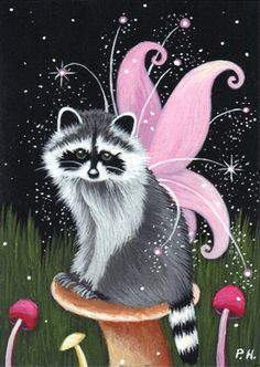 ACEO Print Raccoon Fantasy Stars Mushroom Angel Fairy | eBay