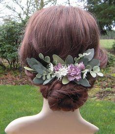 Dusty Purple & Greenery Floral Hair Clip, Dusty Lavender Bridal Hair Clip, Purple Flower Hair Clip with Leaves, Woodland Wedding Hair-RB0158