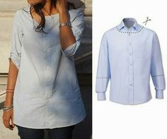 DIY refashion - since men's shirts are so feminine in color these days, I love this. another diy idea for upcycling men's shirts Fashion men's shirts into something a woman can wear. Another site for more… You know the situation when you have nothing to Diy Clothing, Sewing Clothes, Sewing Jeans, Umgestaltete Shirts, Cotton Shirts, Collar Shirts, Dress Shirts, Diy Kleidung, Diy Vetement