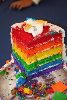 Inside of baby girls cake