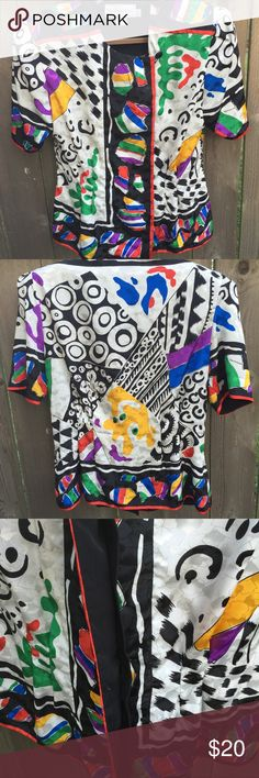 Wild 80's vintage blouse Wild polyester 80's blouse. Size 14 but really a size 12. Great statement piece to anyone's wardrobe. Tops Blouses