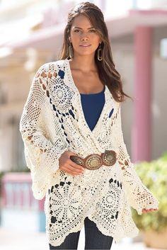 Outstanding Crochet: Bostonproper.  Crocheted wrap jacket - inspiration only