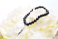 """SANTOL"" - Black Onyx Bead Bracelet with Sterling Silver & Diamond Charm; by Majade"