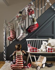 Christmas styling from The White Company's Christmas Look Book (thewhitecompany.com). Love this shade of grey on the staircase.