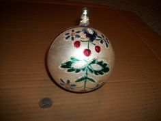 "HUGE 4-1/2"" HAND BLOWN/PAINTED VINTAGE CHRISTMAS ORNAMENT MERCURY GLASS POLAND"
