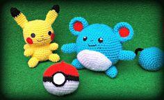 ROSMIGURUMI-ART: Pokemon : Pikachu, Marill y pokeball