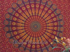 Maroon, Orange, & Green Mandala Tapestry. We can cover a wall with this.
