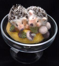 Happy needle felted hedgehogs