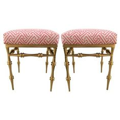 Check out this item at One Kings Lane! Quadrille Upholstered Gilt Stools, Pair