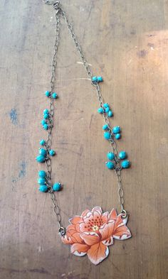 Large coral flower necklace on Etsy, $32.00