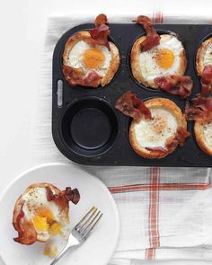 Bacon, Egg, and Toast Cups are so cute, guests will love them. Use sprouted-grain bread, nitrate-free turkey bacon, and olive oil instead of butter.