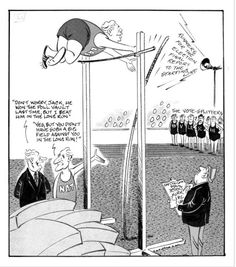 Date: 1972 By: Lodge, Nevile Sidney, 1918-1989    Ref: B-134-285    Shows a pole vault event in progress with Labour Party leader Norman Kirk sailing over the pole. National Party politicians Keith Holyoake and John Marshall talk together at the left, while the vote-splitters (Independents, Social Credit, Values, ND, and LR) line up in the right background.    Probably published in the Sports Post.    Inscriptions: Inscribed - Recto - top left: Sports post.