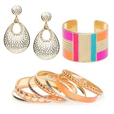 This vibrant set of gleaming metal bangles, textured cuff and ornate drop earrings make Miami Maven a must-have for your summer wardrobe.