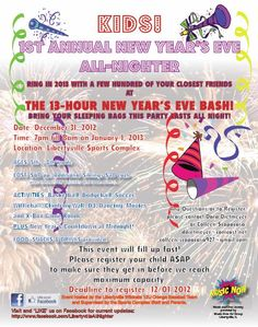 Kids all night New Years Eve Party, Libertyville Sports Complex