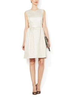 Metallic Trapunto Fit and Flare Dress by ML Monique Lhuillier at Gilt