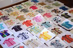 Paper-pieced shirt quilt blocks -- swap 2.0, deadline 6/15/14, pattern by Carolyn Friedlander