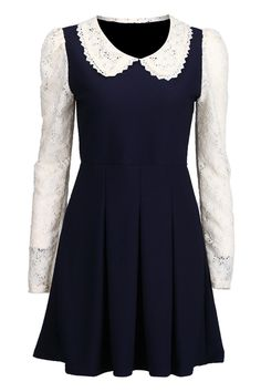 Spliced Lace Pleated Dark-blue Dress