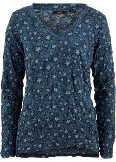 T-shirt froissé à manches longues indigo imprimé - bpc bonprix collection - bonprix.fr