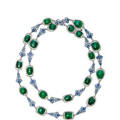 Sutra Emerald and Sapphire Necklace ($51,000) ❤ liked on Polyvore featuring jewelry, necklaces, green, sutra jewelry, sapphire jewellery, emerald green necklace, green jewelry and emerald jewellery