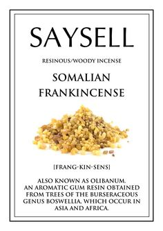 Somalian Frankincense Woody 100 Incense Joss Sticks Agarbatti by Saysell #Saysell #Resinous