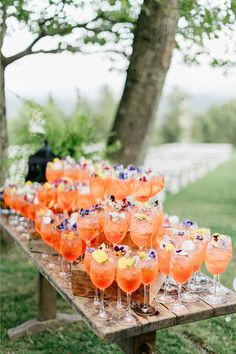 """From the editorial """"A Breathtaking Mountain Top Summer Wedding at Cedar Lakes Estate."""" After a joyful and moving ceremony, guests headed down to the open air Pavilion for cocktail hour where there were floral-infused drinks waiting for them. Lillet Berry, Cedar Lake, Blue Curacao, Signature Cocktail, Party Drinks, Craft Cocktails, Impreza, Event Planning, Catering"""