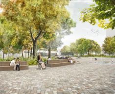Plaza with cobble-type pavers and benches \\ atelier-loidl