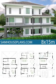 House Plan with 5 Bedrooms. This villa is modeling by SAM-ARCHITECT With 3 stories level.It's has 5 bedrooms. House Plan with 5 Bedroom House Plans, Staff Room, Home Design Plans, How To Level Ground, Bedrooms, Villa, Layout, House Design, How To Plan