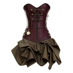 Steampunk dress ❤ liked on Polyvore featuring dresses, steampunk, vestidos, short dresses, brown dress, mini dress, steam punk dress and steampunk dress