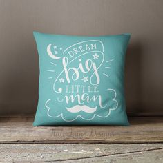 Dream Big Little Man Throw Pillow Case by KaliLaineDesigns on Etsy
