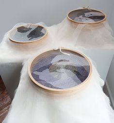 """Listening In, Caroline Bartlett, mixed media; wooden rings stretched with archival crepeline, wool, linen tape, perspex, 2.75"""" x 17"""" x 17""""; 5"""" x 17"""" x 17""""; 6"""" x 17"""" x 17"""", 2011, photo by tom Grotta"""