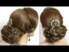 Bridal wedding hairstyle for long hair with hair nets - YouTube