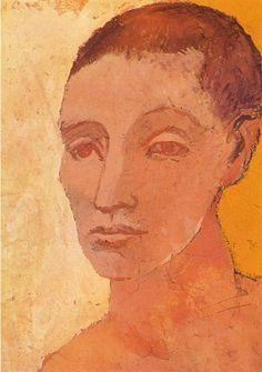 """Head of Young Man"".Artist: Pablo Picasso Completion Date: 1906 Style: Expressionism Period: Rose Period Genre: portrait Dimensions: 38 x cm. Picasso Rose Period, Picasso Blue, Pablo Picasso Artwork, Kunst Picasso, Pics Art, Spanish Artists, Henri Matisse, State Art, Art Techniques"