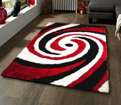 Red White And Black Rug Home Decor