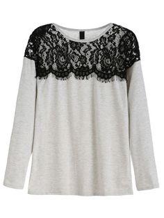 T-Shirt Pizzo Contrasto - Grigio Moda Bilancio 1b64b840b25