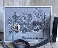 Christmas Truck | Country Livin' (truck), Thoughtful Branches (trees), Holly Berry Happiness (sentiment), Santa's Sleigh (wreath), Gorgeous Grundge splat stamp (snow)